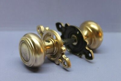 Vintage Antique Victorian Solid Brass Door Knob Set with Decorative Backplates