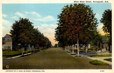 Paragould, Arkansas - Tree-lined West Main Street - in 1939