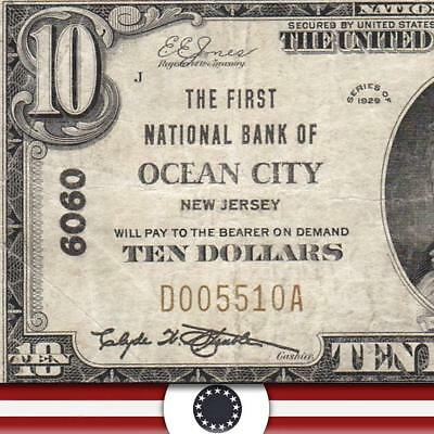 1929 $10 OCEAN CITY, NJ National Bank Note CAPE MAY COUNTY  D005510A