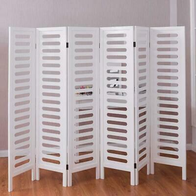 """67"""" 6 Panel Folding Room Divider Wooden Privacy Screen Double Sided"""