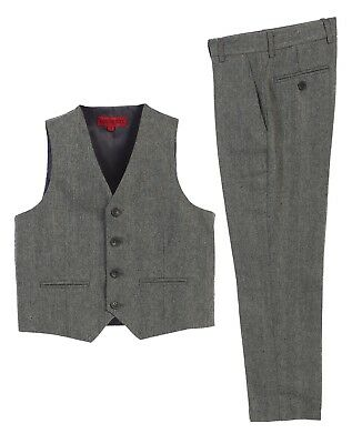 Boys Formal Wear 2 Piece Plaid Vest Pants Set Fashion Wedding Toddler Kids 2T-