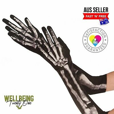 Realistic Skeleton Long Gloves Halloween Costume Unisex 14+ Black (Fast & Free)