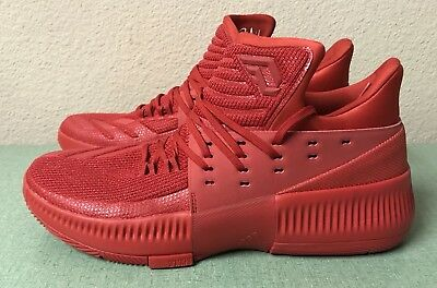 competitive price 25abb 1cf87 Adidas Dame 3 Lillard Roots Triple Red Mens Sz 10.5 Basketball Shoe BB8337  NEW!