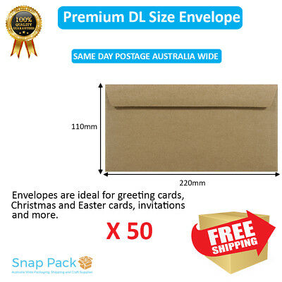 50 x DL Recycled Brown Kraft Envelopes 100% Recycled Premium Quality Peel N seal