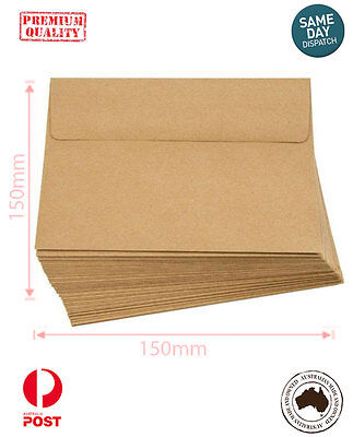Recycled Brown Kraft 150mm SQUARE ENVELOPES for Wedding Cards and More- A Grade