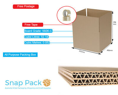 50 x 50 L MOVING STORAGE BOXES PACKAGING CARDBOARD REMOVALIST+BONUS TAPES