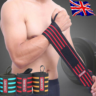 Nylon Wrist Support Brace Strap Gym Weight Lifting Arthritis Sprains Strains UK