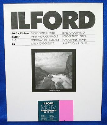 """Ilford 8x10"""" Multigrade MGIV RC B&W DELUXE MGD Paper 25 Sheets Glossy 1168190"""