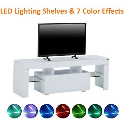 """51"""" High Gloss White LED Light Shelves TV Stand Unit Console Cabinet with Drawer"""
