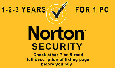 Norton Security 2019 1-2-3 Years 1 Win PC Latest Version Worldwide-Check Pics
