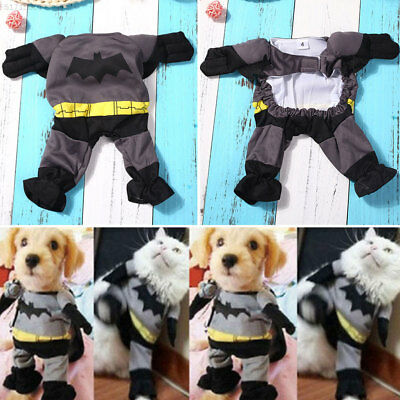 B293 Funny Pet Cat Dog Puppy Cotton Batman Style Apparel Cothes Costume Party
