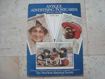 ANTIQUE ADVERTISING 1985 POSTCARD BOOK vintage New York Historical Society