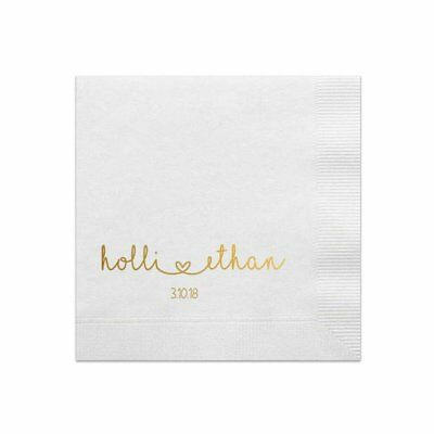 100 Personalized Napkins Connected Heart Design 3 Ply Napkins Cocktail Beverage