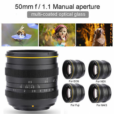 Kamlan 50mm F/1.1 Manual Focus Lens Large Aperture for M4/3 Mirrorless Cameras