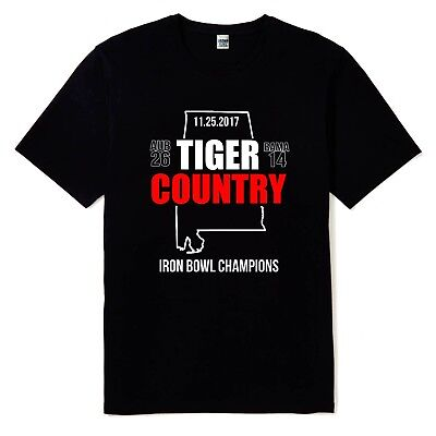 New Tiger Country Iron Bowl Champions Black Color Mens T Shirt Sizes S to 2XL