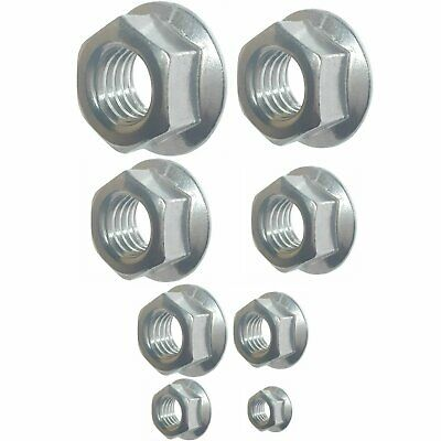 385 Qty Assorted SAE Standard Zinc Plated Serrated Flange Hex Lock Nuts (BCP274)