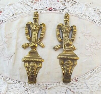 Pair Antique French Empire Ormolu Bronze Gold Tiebacks Hooks for Curtains Drapes