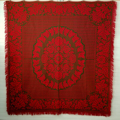 Antique 19thc PA. Woven Coverlet Holly Green Berry Red TULIPS  Attrib. W. NEY