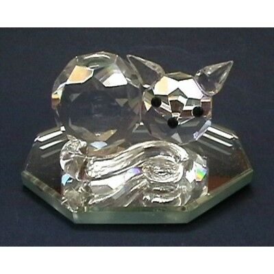 Cut Glass Sleeping Cat on Mirror Figurine - Collectible Crystal Ornament