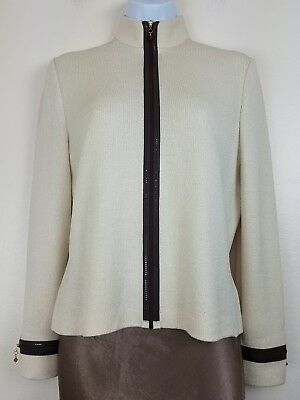 St. John Collection Marie Gray Santana Knit Cream Zip Up Jacket Sequins Womens 4