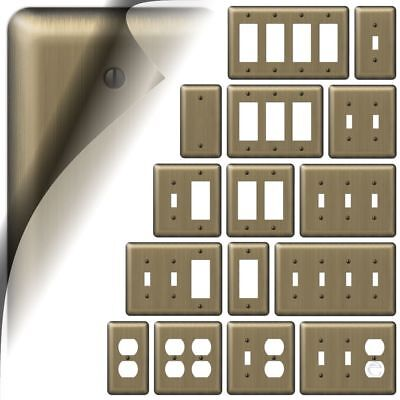 Brushed Brass Devon Switch Plate Wallplate Duplex Outlet Cover Toggle Rocker GFI