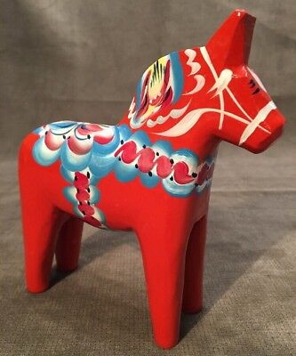 Vintage Swedish Dala Horse. Folk Art Carved Sweden Hand Painted-Nils Olsson