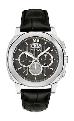 Bulova Men's Quartz Chronograph Black Dial Black Leather Strap 41mm Watch 96B218