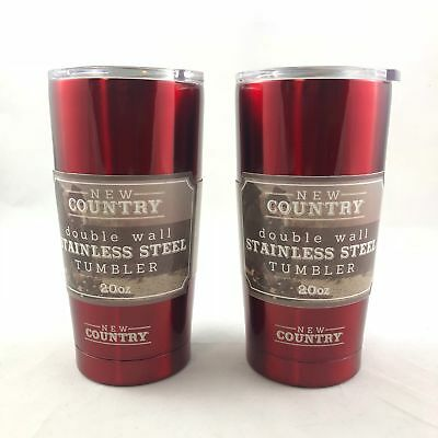 Double Wall Stainless Steel Tumbler, Red, 20 oz (2-pack)