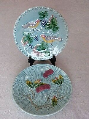Vintage Pair of Blue Plates Cherries & Birds and Grapes Germany Raised Figures