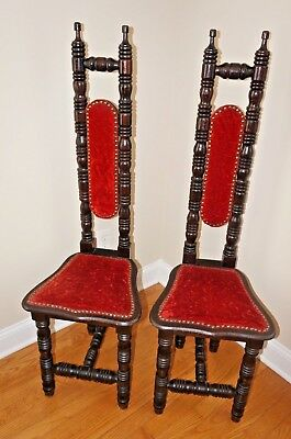 "Vintage Jacobean Style High Back Spanish Hall Chair ""Prayer Chair"" Gothic Red"