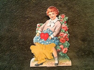 Valentine Card Boy with basket of Flowers fold out  Vintage