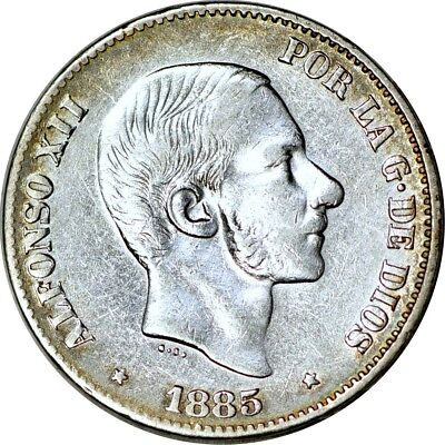 Philippines 50 Centimos, 1885 XF(Cleaned)  K4271