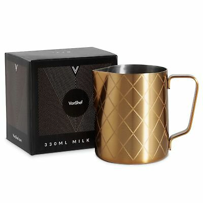 Brushed Gold Milk Frothing Jug Stainless Steel for Coffee Latte Cappuccino Gift