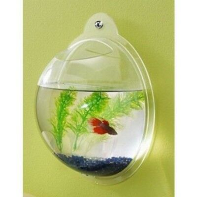 Fish Bubble Aquarium Tank Hangin Wall Mounted Stone Pump Strip Plant Pot