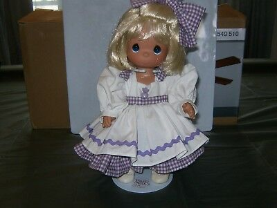 """Precious Moment 12"""" Doll, White & Purple Checker (Gingham) Dress with Doll Stand"""