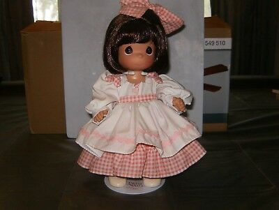 """Precious Moment 12"""" Doll, Pink & White Checker (Gingham) Dress with Doll Stand"""