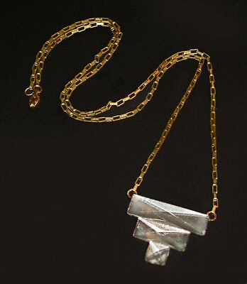 ~RARE CLASSIC ANTIQUE 1920s ART DECO STEPPED CLEAR BEVELED GLASS NECKLACE!~~