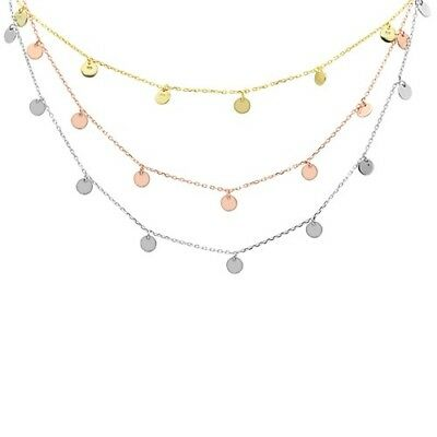 THREE COLORS! Rose Gold Plated Hammered Disc .925 Sterling Silver Necklace