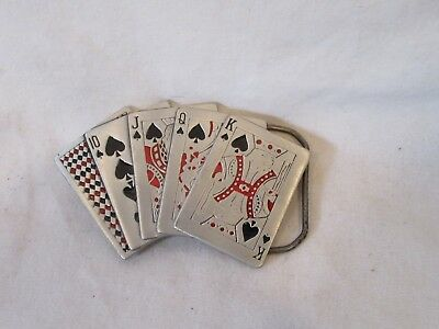 Vtg 1979 The Great American Buckle Co Chicago, Spades Poker Cards Belt Buckle