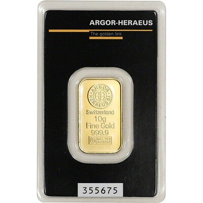 10 gram Gold Bar - Argor Heraeus - 999.9 Fine in Assay