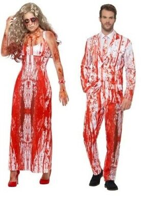 b3d5b48248a Zombie Bride and Groom Halloween Costume Ladies Mens Couples Fancy Dress New