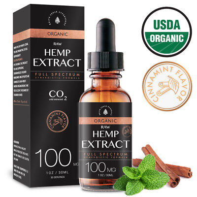 Organic Raw Hemp Extract for Pain Stress Relief 100MG Cinnamint Flavor Kosher