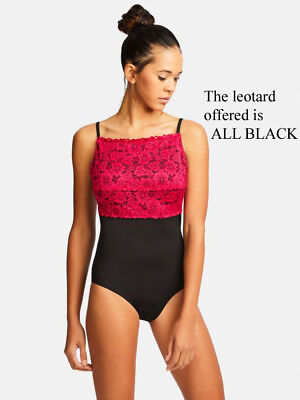 NWT CAPEZIO Lace front lace back camisole leotard showstopper ALL BLACK Girls sz