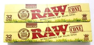 2x32 Pcs RAW Organic Hemp, King Size Pre Rolled Cones Rolling Paper 64 PCS TOTAL