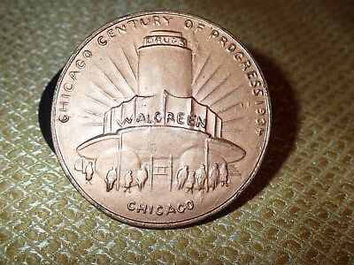 Chicago World Fair 1934 Coin Medallion WALGREENS Drug Century of Progress
