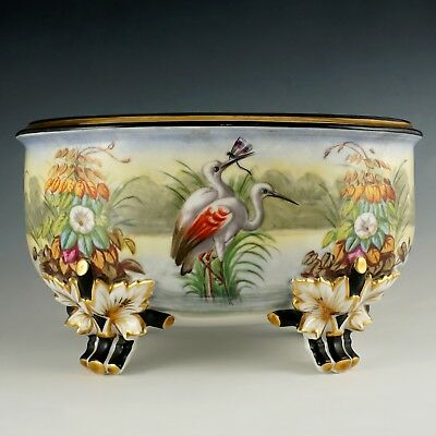 Large Antique French Porcelain Jardiniere Hand Painted Scene Birds Flowers