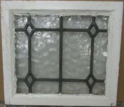 """OLD ENGLISH LEADED STAINED GLASS WINDOW Simple Gorgeous Diamonds 21"""" x 19.25"""""""