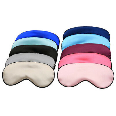 1x Pure Silk Sleep Rest Eye Mask Padded Shade Cover Travel Relax Aid Blindfold
