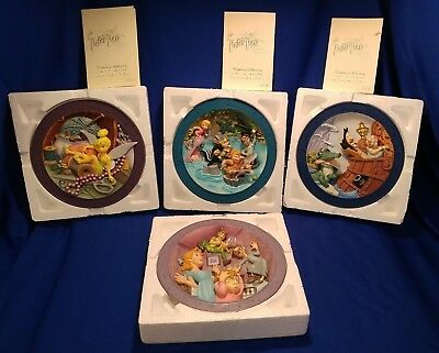 Set of 4 Disney PETER PAN 3D Limited Edition Collectible Plates In Box Numbered