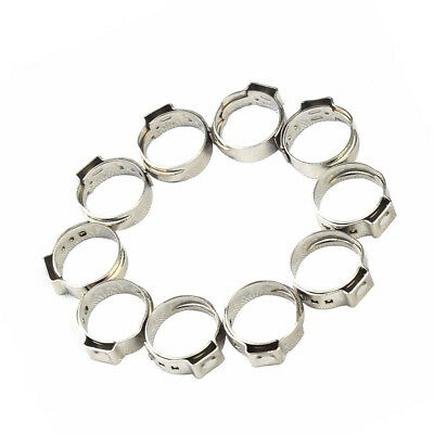 10 PCS 1/2 Inch PEX 304 Stainless Steel Clamp Cinch Rings Crimp Pinch Fitting